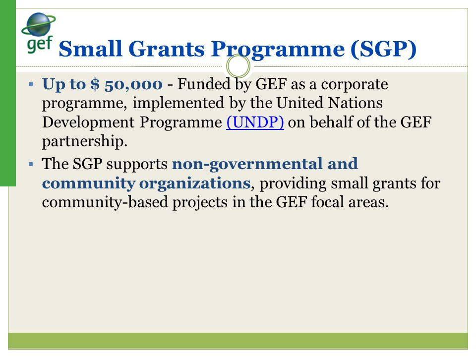 Small Grants Programme (SGP)