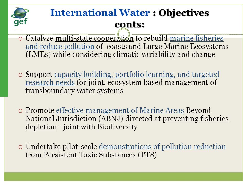 International Water : Objectives conts: