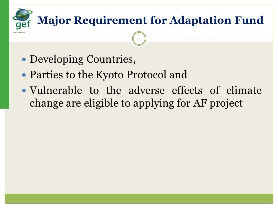 Major Requirement for Adaptation Fund