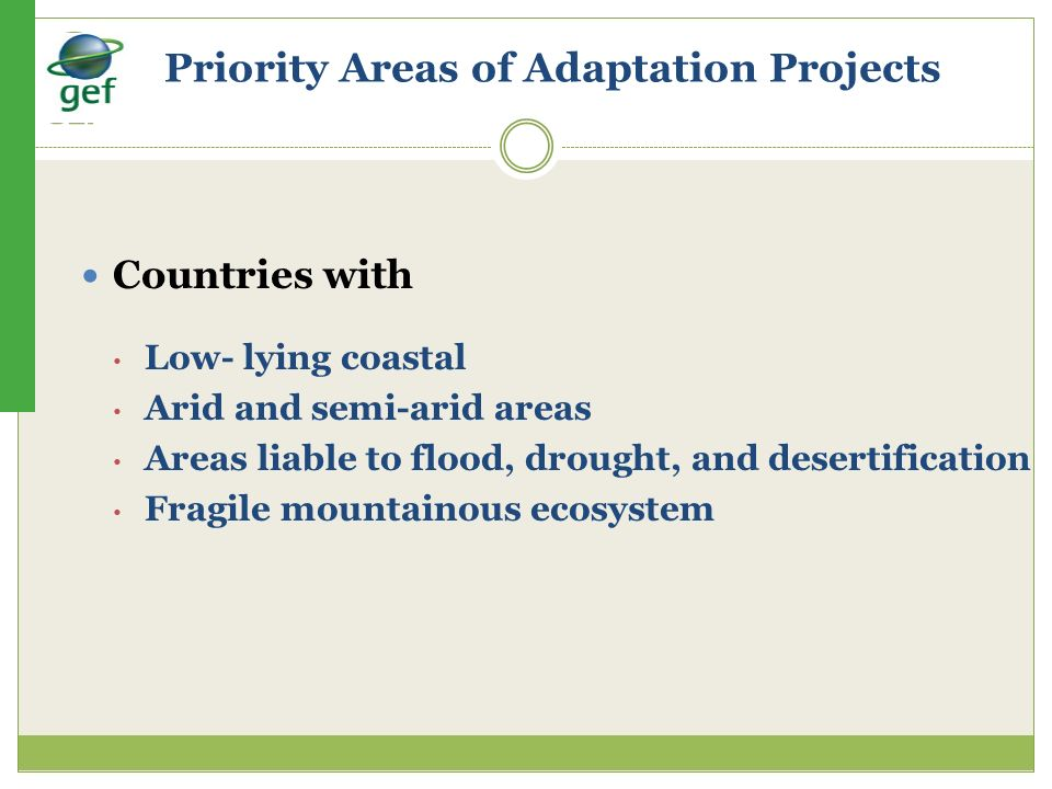 Priority Areas of Adaptation Projects