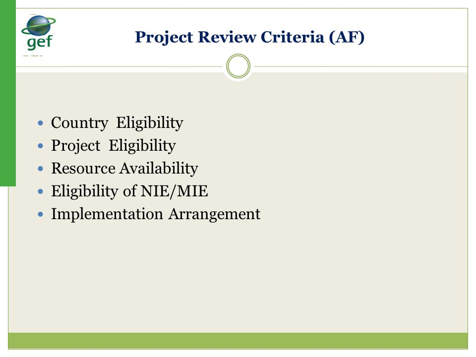 Project Review Criteria (AF)