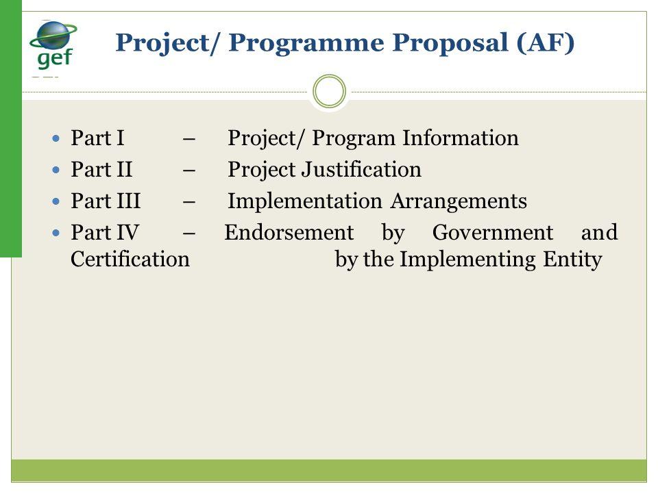 Project/ Programme Proposal (AF)
