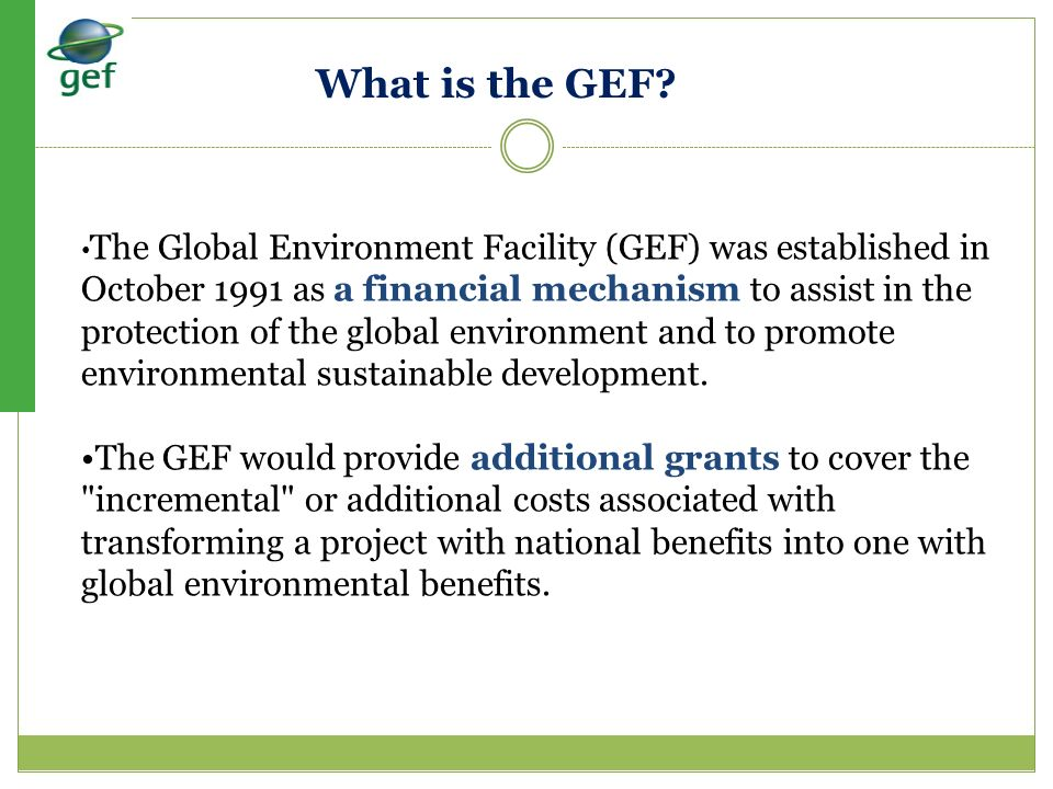 What is the GEF •The Global Environment Facility (GEF) was established in.