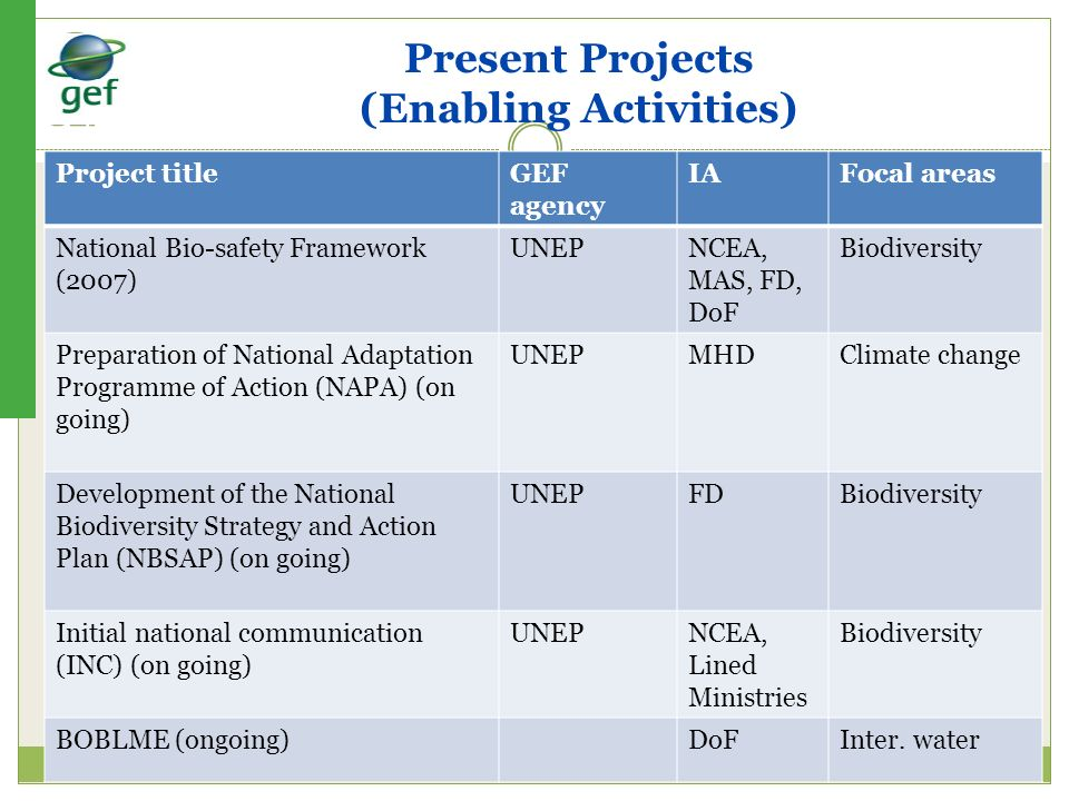 Present Projects (Enabling Activities)