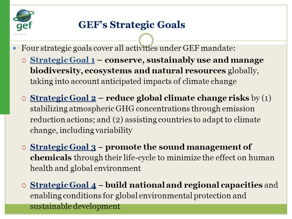 GEF's Strategic Goals Four strategic goals cover all activities under GEF mandate: