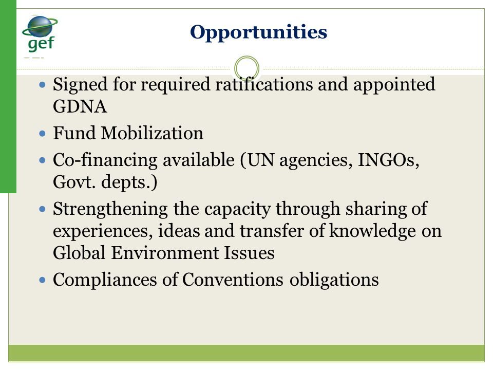 Opportunities Signed for required ratifications and appointed GDNA