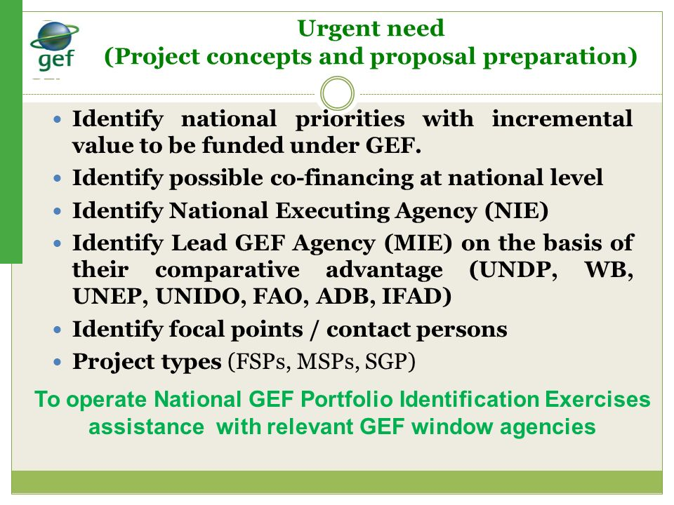Urgent need (Project concepts and proposal preparation)