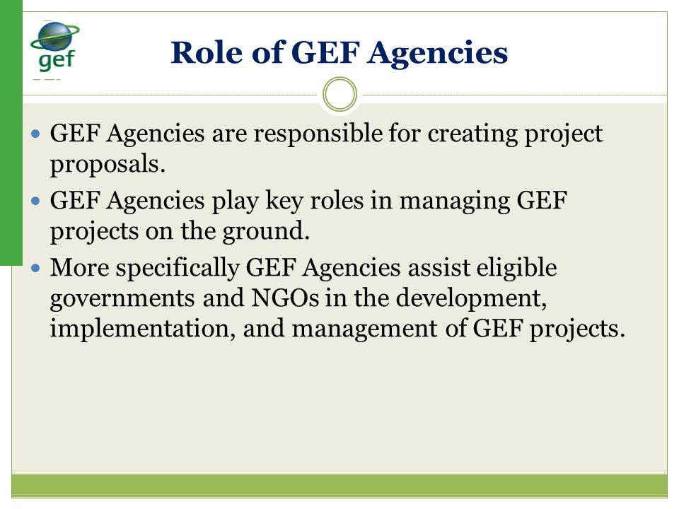 Role of GEF Agencies GEF Agencies are responsible for creating project proposals.