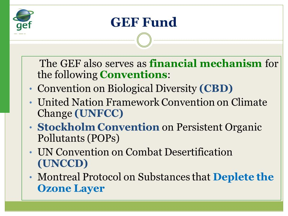 GEF Fund The GEF also serves as financial mechanism for the following Conventions: Convention on Biological Diversity (CBD)