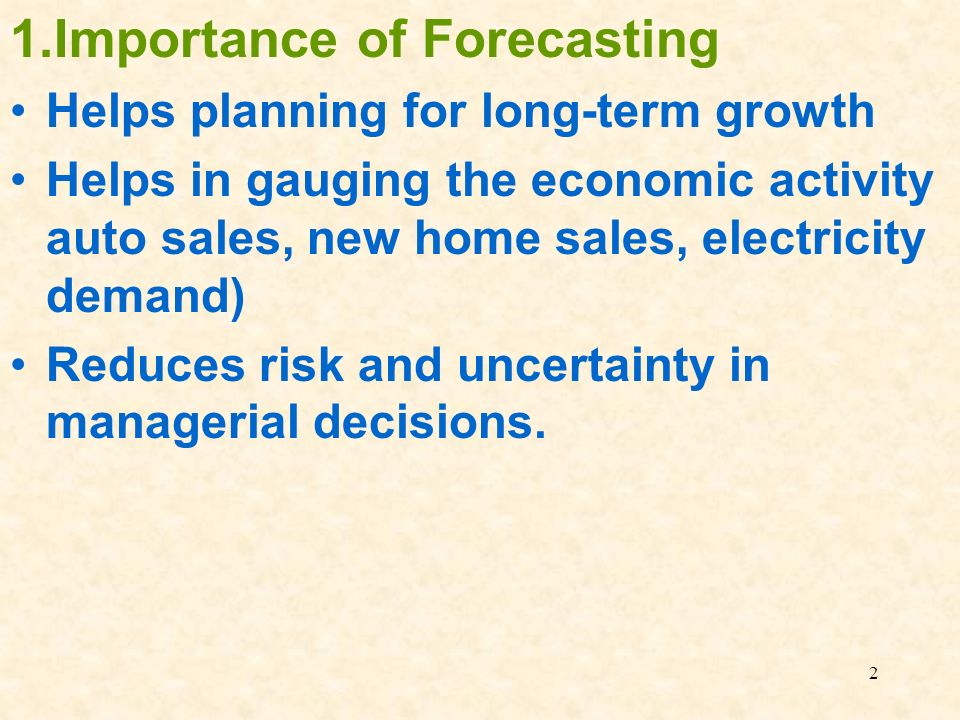 consider the importance of forecasting for The forecast gives the planner a guide to future demand, but no forecast is totally accurate and the planners experience and knowledge of the current and future environment is important in determining the future demand for a company's products.