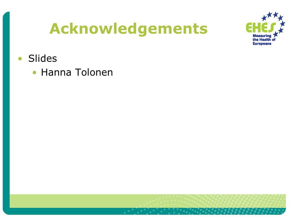 Acknowledgements Slides Hanna Tolonen
