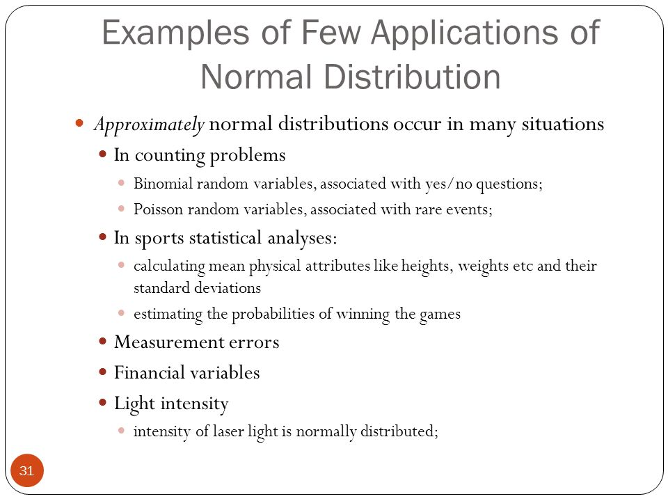 workplace applications of normal distribution I describe the standard normal distribution and its properties with respect to the percentage of observations within each standard deviation i also make reference to two key statistical.