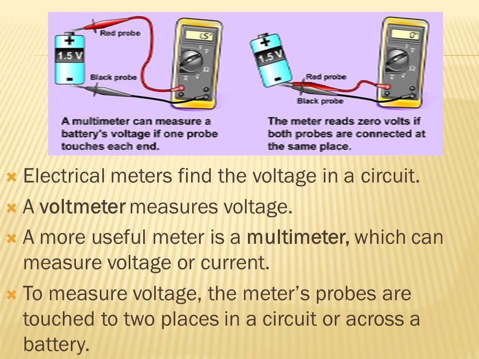 Electrical meters find the voltage in a circuit.