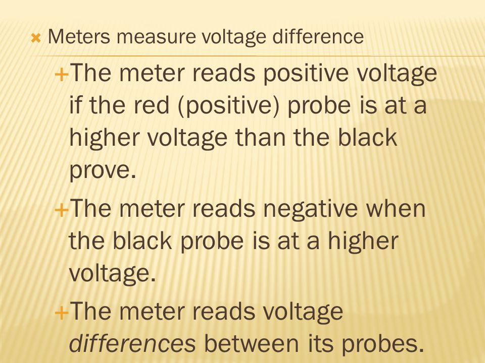 The meter reads negative when the black probe is at a higher voltage.