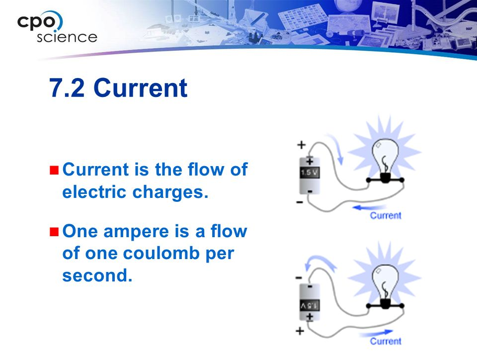 7.2 Current Current is the flow of electric charges.