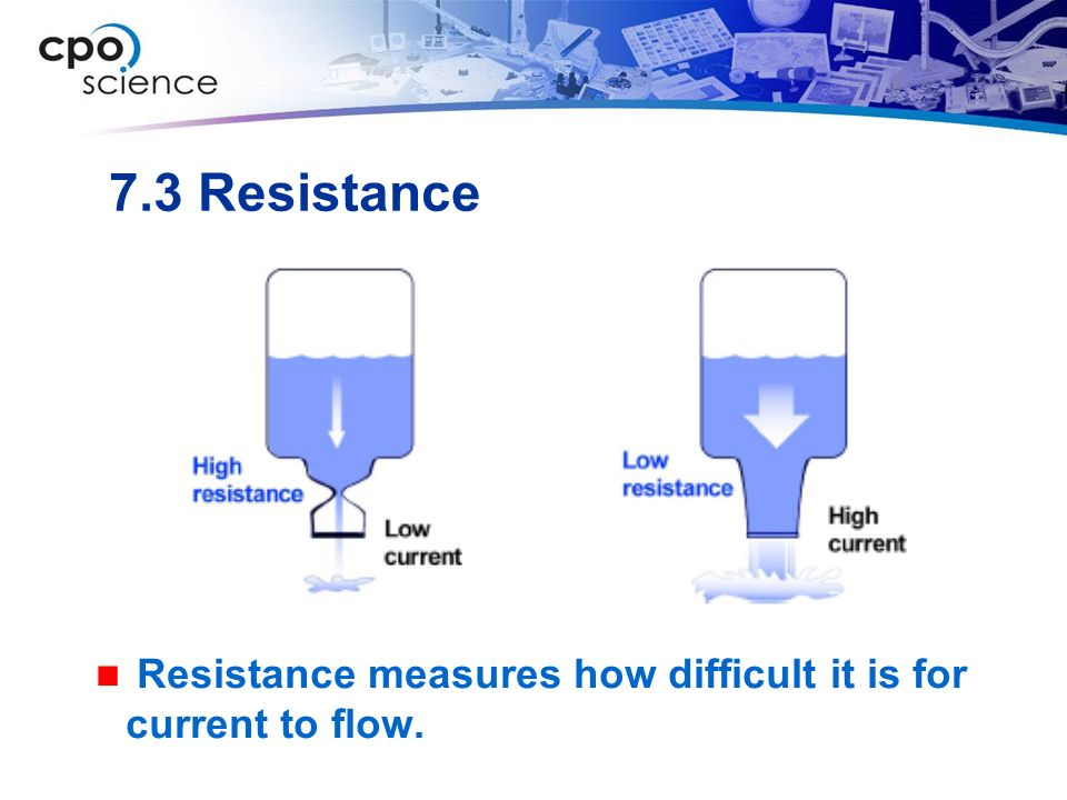 7.3 Resistance Resistance measures how difficult it is for current to flow.