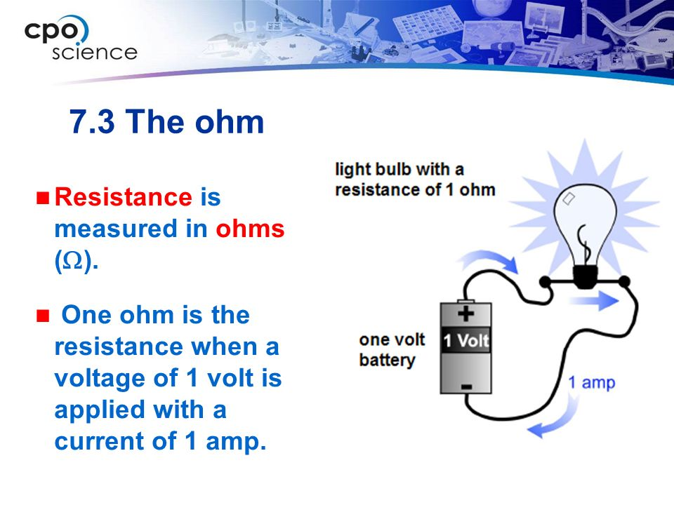 7.3 The ohm Resistance is measured in ohms (W).