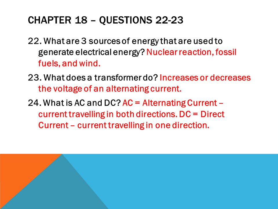Chapter 18 – questions 22-23