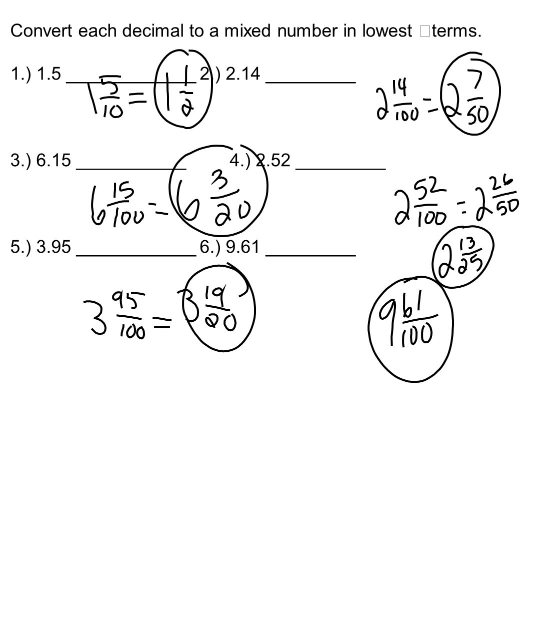 Changing Decimals To Fractions Worksheet mixed number ...