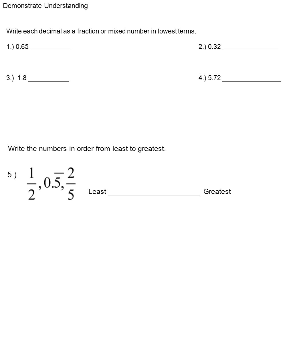 Worksheet Mixed Number To Decimal Changing Decimals To Fractions Ppt  Download Write The Numbers In Order How To Add