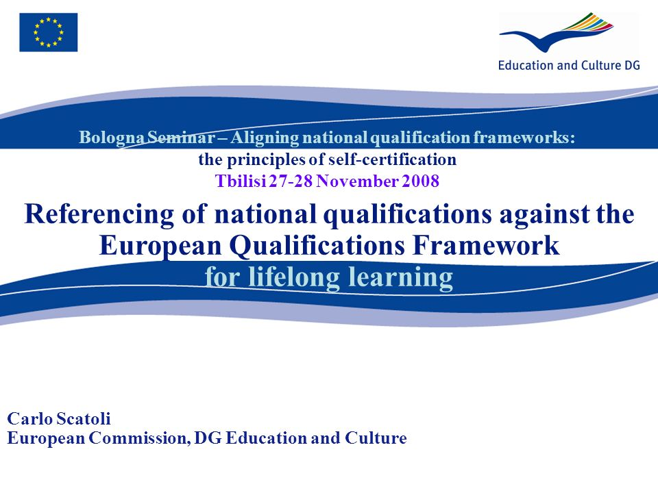 Bologna Seminar – Aligning national qualification frameworks: the principles of self-certification Tbilisi 27-28 November 2008