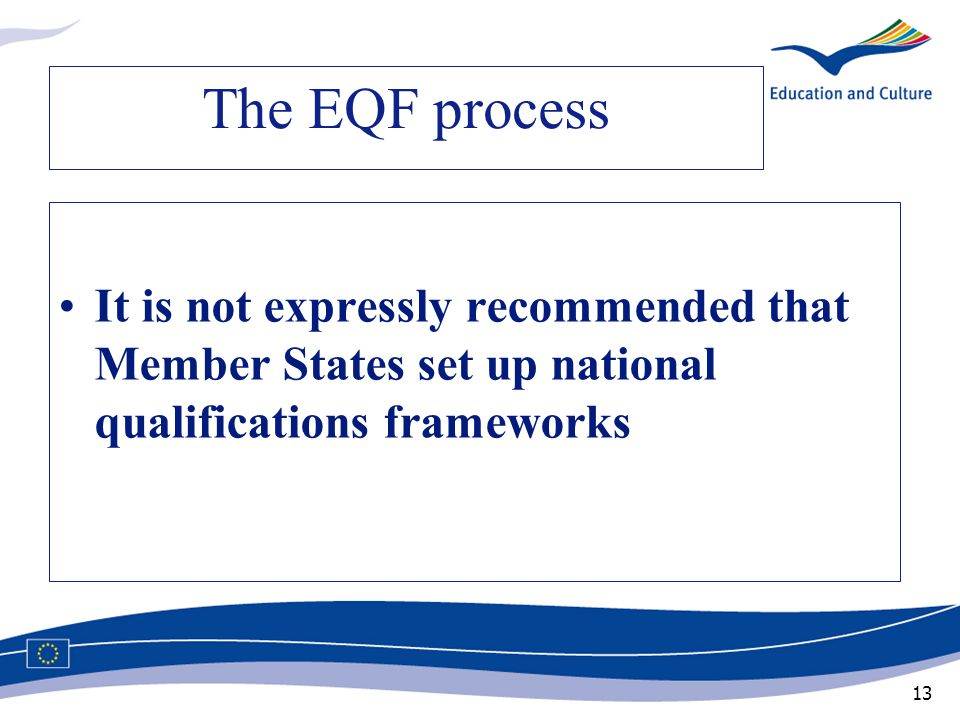 The EQF process It is not expressly recommended that Member States set up national qualifications frameworks.