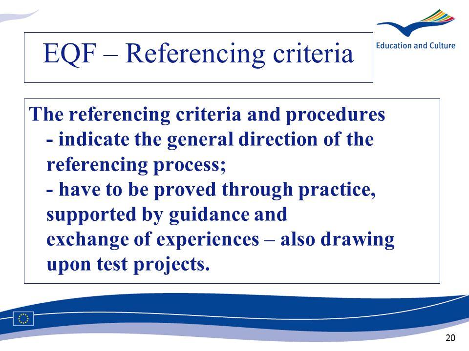 EQF – Referencing criteria