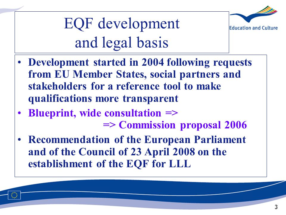 EQF development and legal basis