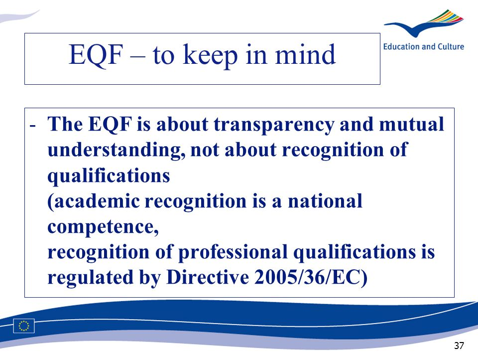 EQF – to keep in mind