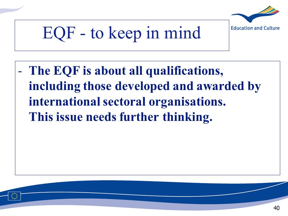 EQF - to keep in mind