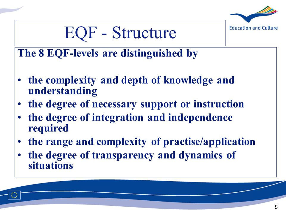 EQF - Structure The 8 EQF-levels are distinguished by