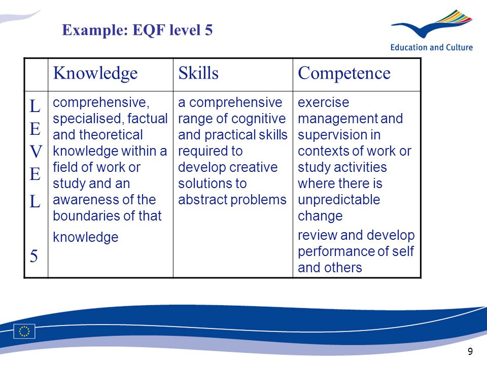Knowledge Skills Competence LEVE L 5 Example: EQF level 5
