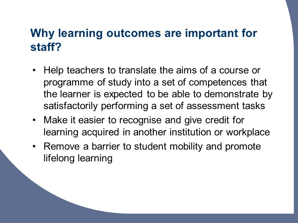 Why learning outcomes are important for staff