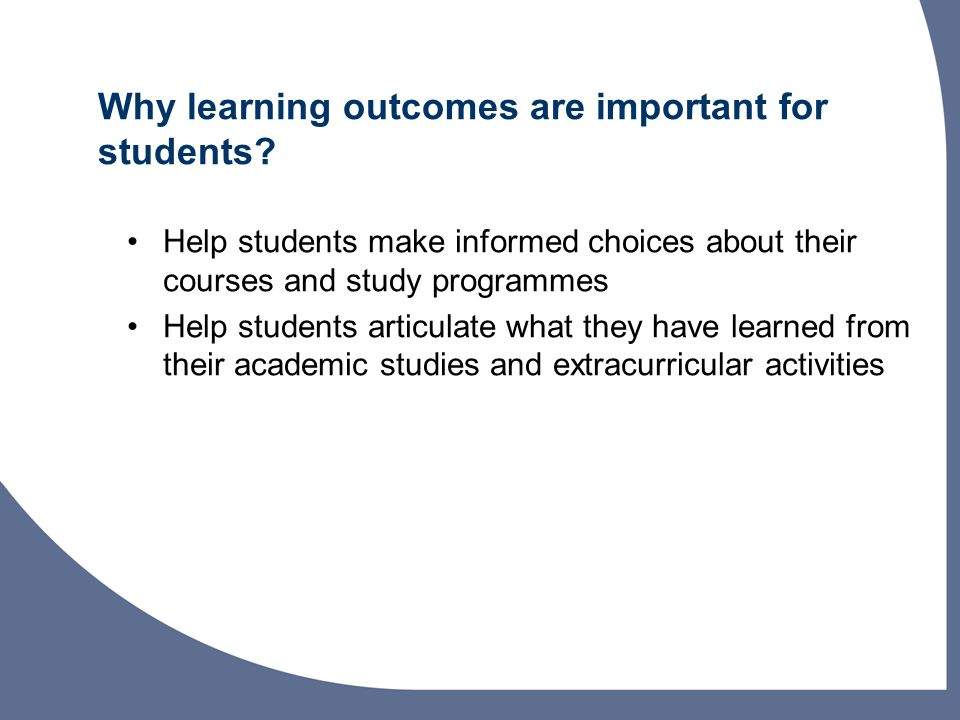 Why learning outcomes are important for students