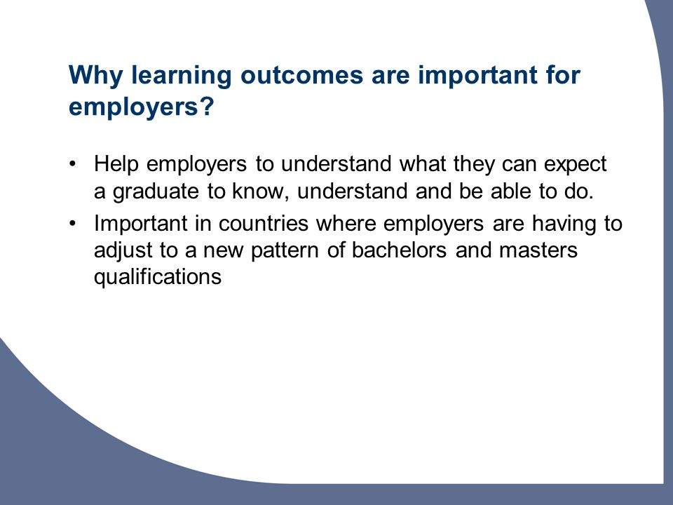 Why learning outcomes are important for employers