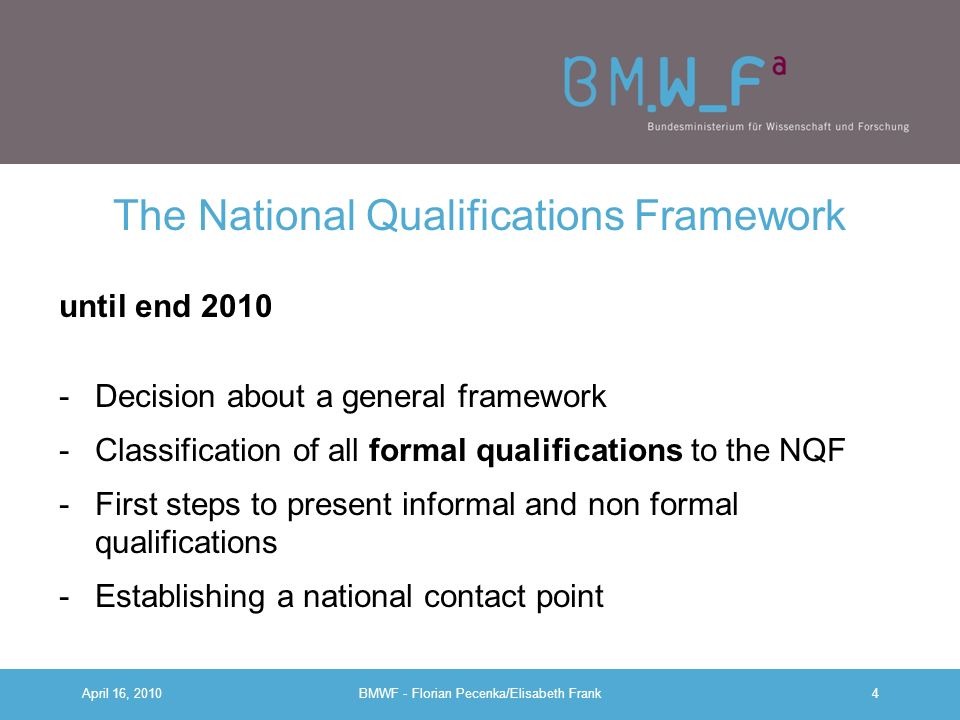 The National Qualifications Framework