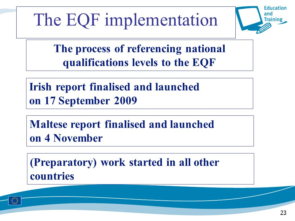 The process of referencing national qualifications levels to the EQF