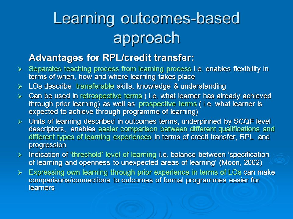 Learning outcomes-based approach