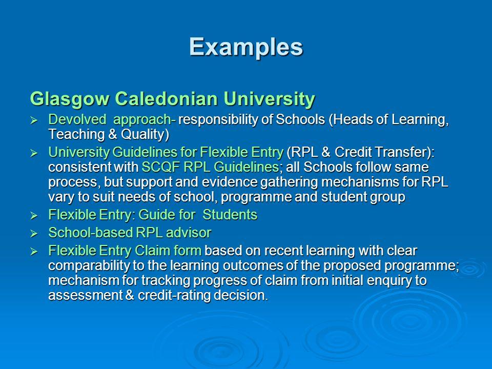 Examples Glasgow Caledonian University