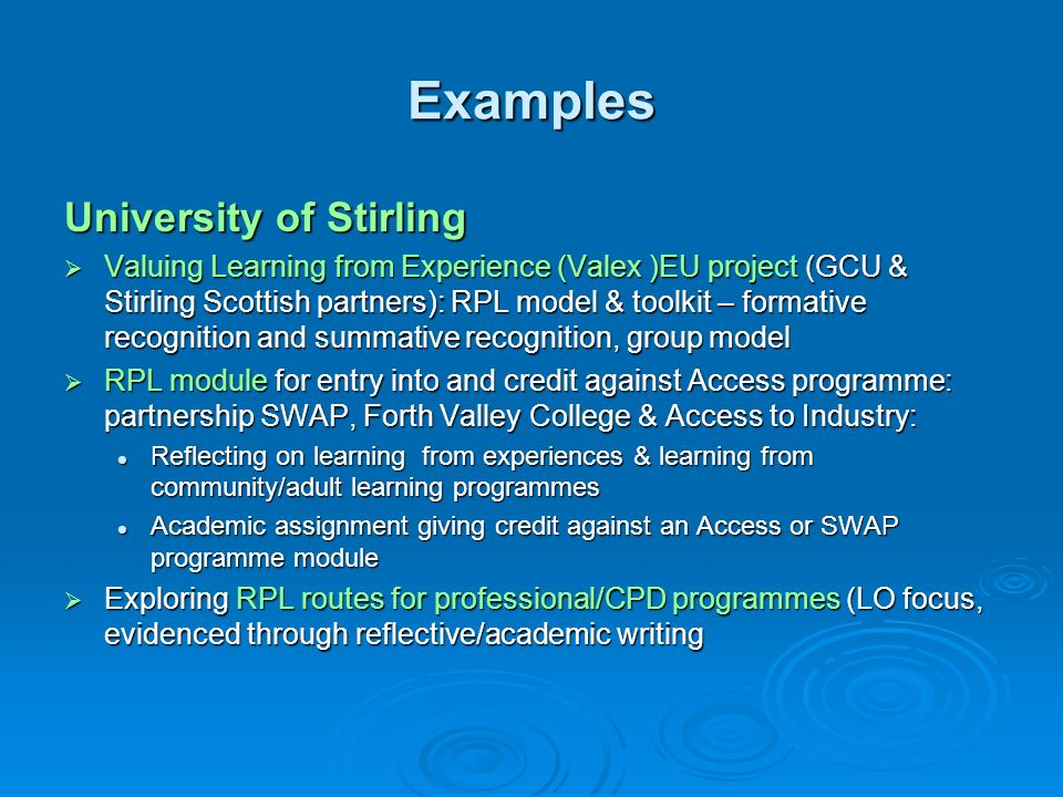 Examples University of Stirling