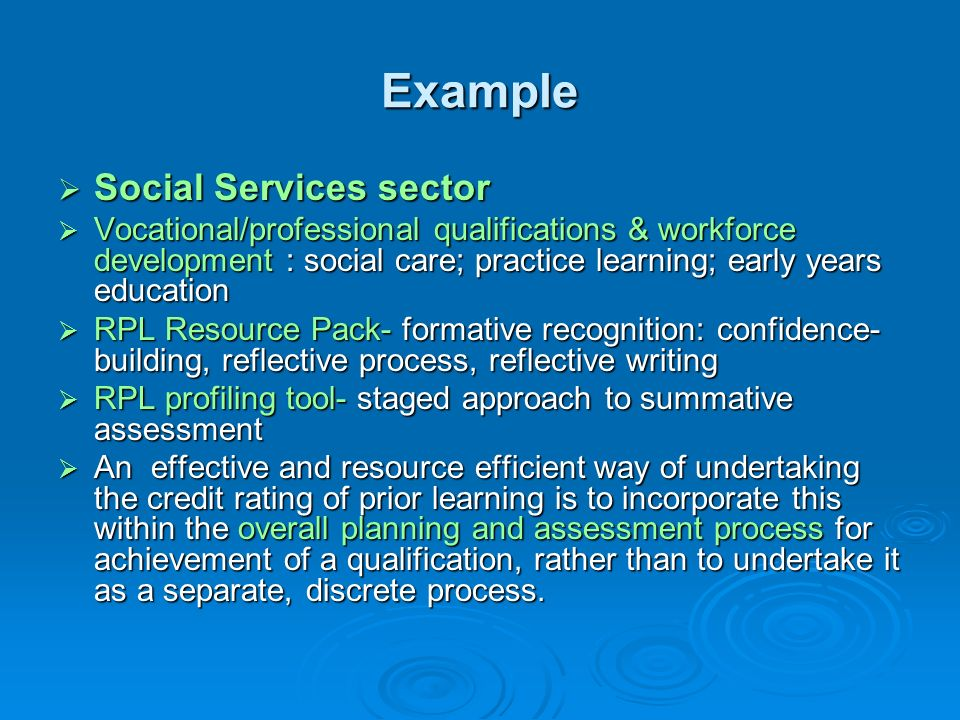 Example Social Services sector