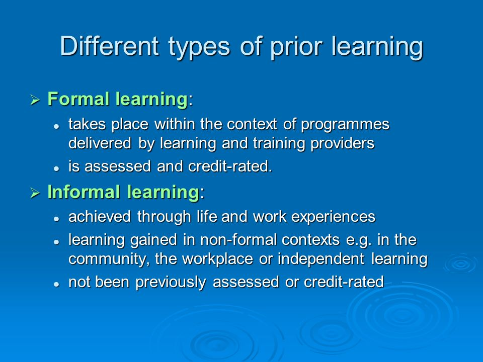 Different types of prior learning