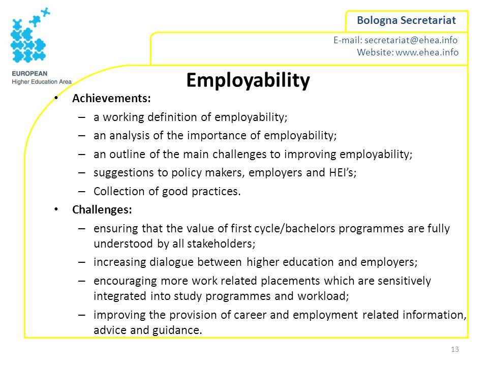 Employability Achievements: a working definition of employability;