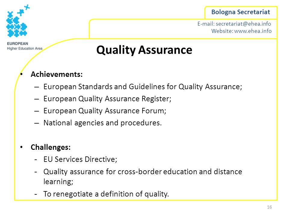 Quality Assurance Achievements: