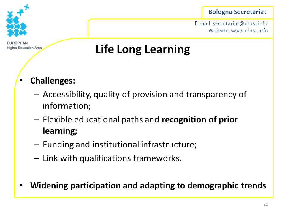 Life Long Learning Challenges: