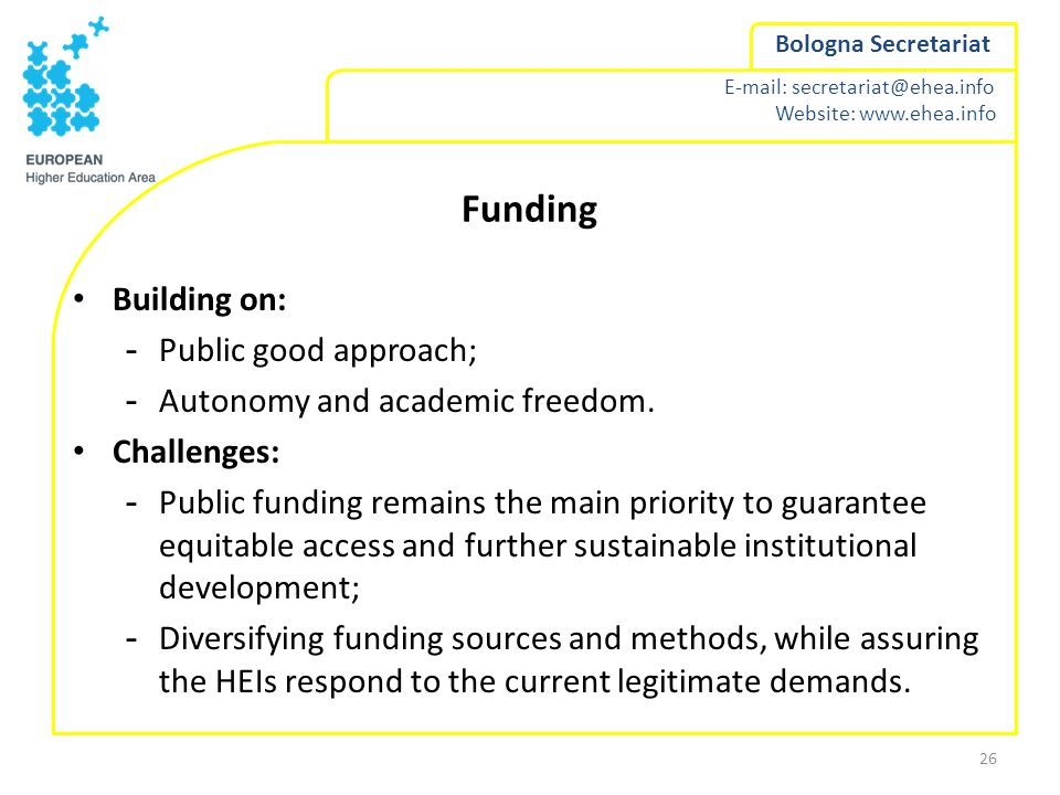 Funding Building on: Public good approach;