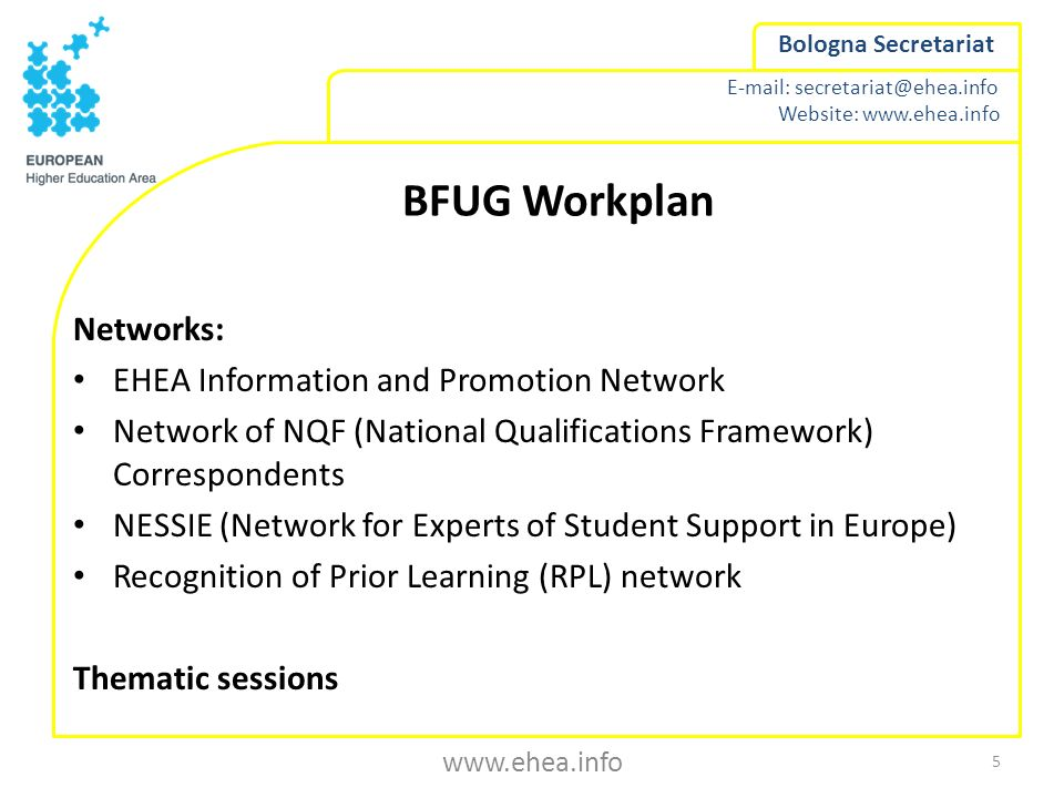 BFUG Workplan Networks: EHEA Information and Promotion Network