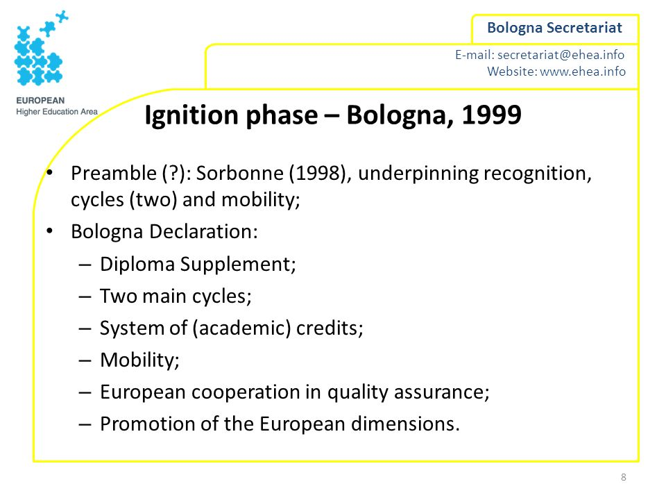 Ignition phase – Bologna, 1999