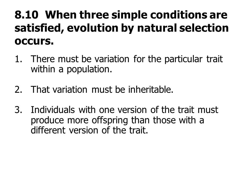 Conditions Necessary For Evolution By Natural Selection To Occur