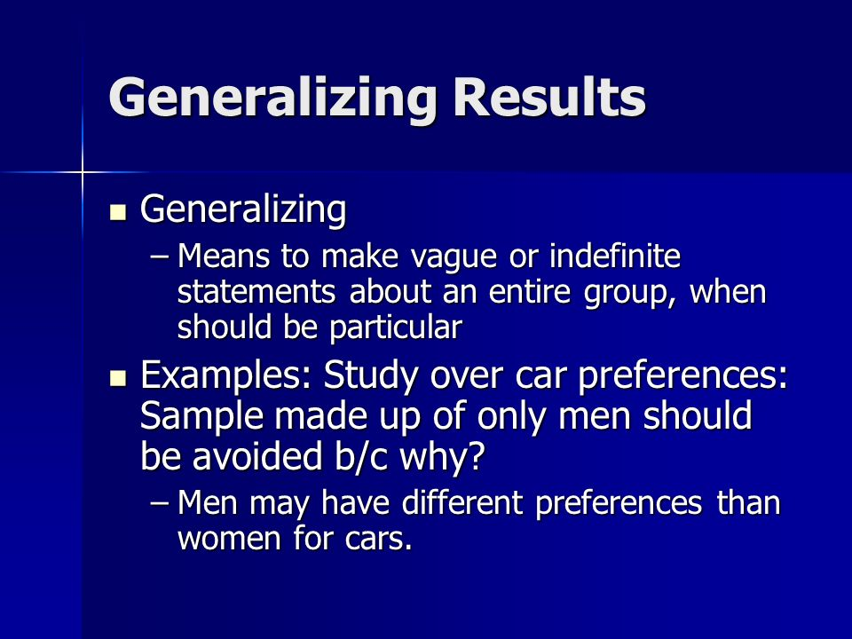 Generalizing Study Results - superioressaypapers